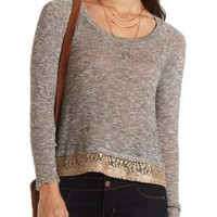 Metallic Lace Trim Top by Charlotte Russe - Gray Combo