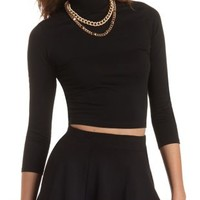 Three-Quarter Sleeve Mock Neck Crop Top by Charlotte Russe