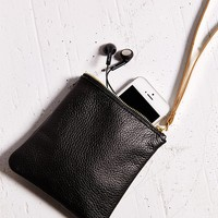 Cold Picnic Leather Wristlet Pouch-