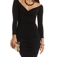 Ruched Off-the-Shoulder Bodycon Dress by Charlotte Russe - Black