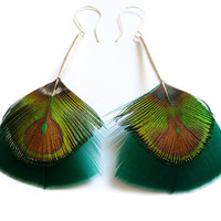 Iridescent Feather Earrings in Teal and Green with Long Silver Stems