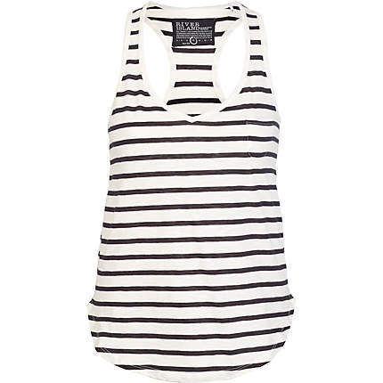black stripe loose vest
