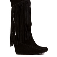 Knee High Fringe Wedge Boots in Black Suede