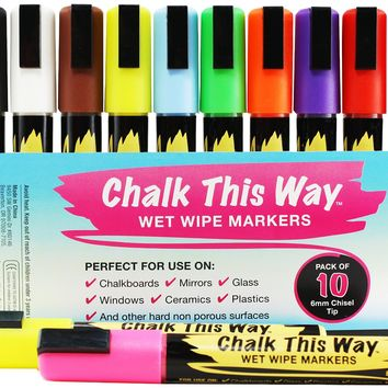 Liquid Chalk Ink Markers - 10 Pack - 6mm Chisel Tip, Brilliant Bold Colors. Great Childrens Drawing Chalks. For Chalkboards, Signs, Scrapbooking, etc