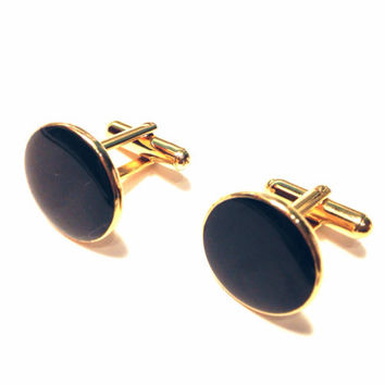 Black Round Cufflinks Gold Tone Vintage Simple Circle Cuff Links Mid Century Mod