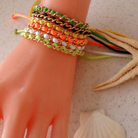 Neon - Chain - Bangle - Bracelet - Macrame - Summer Style - Beach ---Summer
