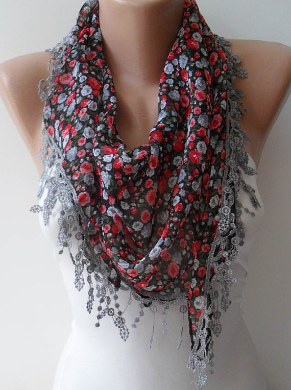ON SALE - Red and Grey Flowered Chiffon Scarf with Grey Trim Edge - Triangle
