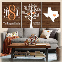 Family Tree State Prints Monogram Wood Effect Bedroom Wall Art Initials Wedding Gift Last Name Date Tree Birds Custom Wall Art Set of 3