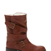 FOREVER 21 Buckled Faux Shearling Boots Chestnut