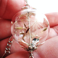 Dandelion Seed Glass Orb Necklace, Lucky You, Natural Treasures