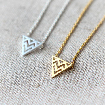 Zigzag Triangle Necklace - choose your color, gold and silver
