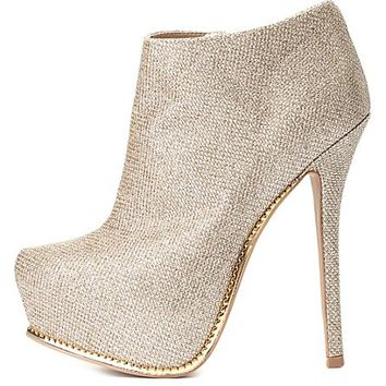 Qupid Glitter Mesh Platform Booties by Charlotte Russe - Champagne