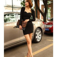 Sexy Low-cut Tight Dress Black FQ265H