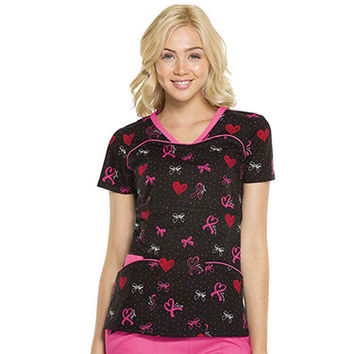 Pink With A Purpose by Heartsoul Women's V-Neck Print Top