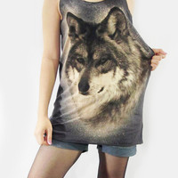 WOLF FOX Animal Cute Zoo Animal Shirt Women Animal Tank Top Animal Tunic Top Shirt Black T-Shirt Sleeveless Singlet Screen Print Size S M