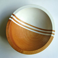 "Graphic Modern Hardwood Small 7"" Bowl, White Bean"