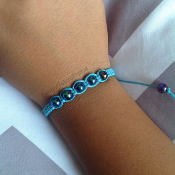 Shiny sparkly beaded blue hemp bracelet