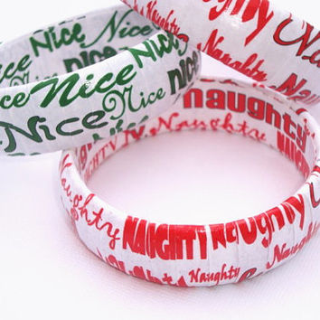 Great Stocking Stuffers Gifts, Paper wrapped upcycled bracelets, Holiday Jewelery, Unique Quirky fun Holiday bracelets