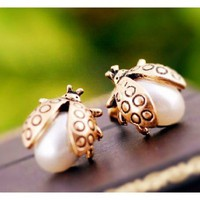 Golden Pearl Ladybug Earrings