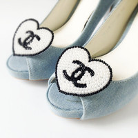 Black and White Coco Chanel Heart  pearl beads shoe clips