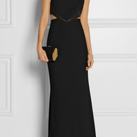 Alice + Olivia - Adel leather-trimmed cutout crepe gown