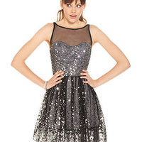Ruby Rox Juniors Dress, Sleeveless Mesh Paillettes - Juniors SALE & CLEARANCE - Macy's