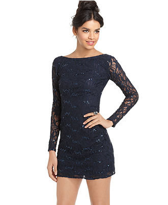 Jump Dress, Long Sleeve Lace Sequin Mini - Juniors SALE & CLEARANCE - Macy's