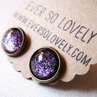 summer nights and starry skies - handmade black dark purple sparkly metallic nickel free post earrings