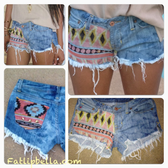 BOHO Studded Tribal Aztec Print cut off shorts, vintage high waist or low rise
