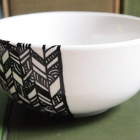 Chevron Bowl -  Hand drawn black and white