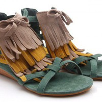 BOHEMIAN LEATHER COLORFUL FRINGED FLAT SANDALS by redballoon on Sense of Fashion