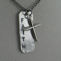 FAITH with CROSS Necklace - Rustic Artisan Aluminum Dog Tag Style Necklace on a long 24 inch gunmetal chain - Faith Jewelry