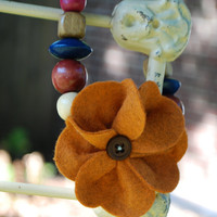 Hadley Ribbon Necklace in Beautiful Fall Colors with Pumpkin Spice Wool Felt Flower Center