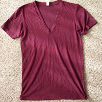 Burgundy / Maroon slightly heathered v-neck tee