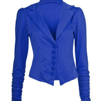 Blue Gathered Sleeve Blazer - Clothing - desireclothing.co.uk