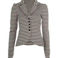Mocha Striped Fitted Jacket - Clothing - desireclothing.co.uk
