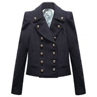 Fitted Shoulder-pads Double-breasted Navy-blue Coat [NCSOX0039] - $94.99 :