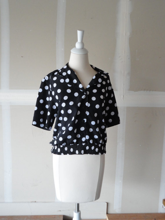 vintage polka dot blouse black and white blouse vintage blouse 80s blouse women's vintage clothing