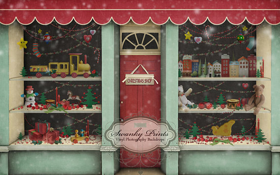 8ft x 5ft Vinyl Photography Backdrop/Christmas Toy Store, Santa's Workshop - Other