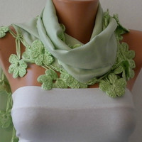 Women Pashmina  Scarf  - Cotton Scarf -  - Cowl with Lace  Edge - Light Green