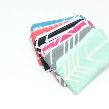 Mint Arrow Style Change Purse, Coin Purse, Small Zipper Pouch, Girls Party Favor