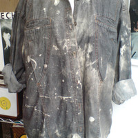 Vtg GRUNGE 1990's oversized grey denim bleached splattered shirt