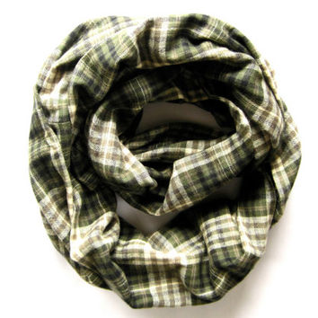 Adult Flannel Scarf Cute Plaid Scarf Double Loop Scarf Green Cream Tan Black Mommy and Me Scarf Warm Winter Scarf Teen Scarf Ready To Ship