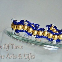 Gold Royal Blue Winding Path Beaded Bracelet Gold Plate Clasp 6.5""