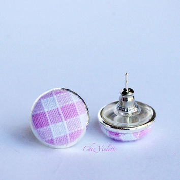 Tiny earrings stud pink white checked fabric stud earrings - small earring studs