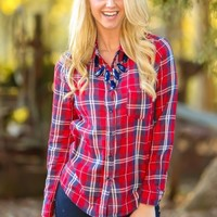 Get Out Of Town Plaid Blouse-Cranberry