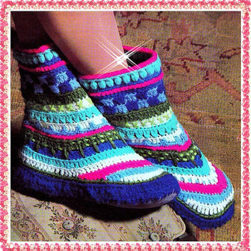 CROCHET PATTERN boot slippers Shoes Vintage Greenland Boots Slipper Socks PDF Instant Download slippers crochet patterns vtg chunky boots