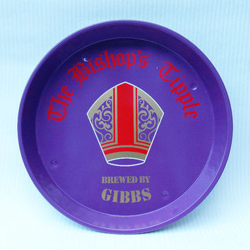 Drinks Tray, Pub Tray, Beer Tray, Metal Tray, Serving Tray, Tin Tray, The Bishops Tipple, Purple, Real Ale - 1970s / 1980s