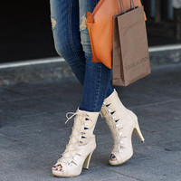 YESSTYLE: SO Central- Peep-Toe Lace Up Boots - Free International Shipping on orders over $150