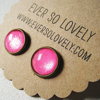hot pink sparkle handmade metallic nickel free post brass earrings - summer love